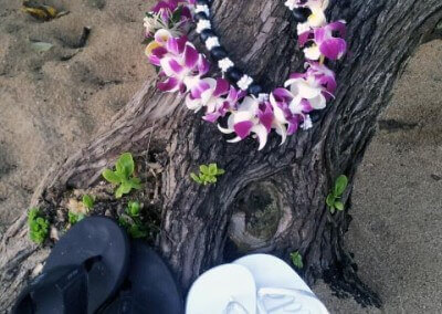 Single orchid lei and kukui shell lei Kauai