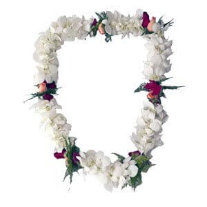 double orchid and triple rosebud lei wedding kauai