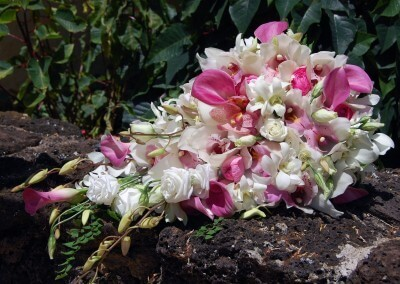 tropical antherium cascade wedding kauai